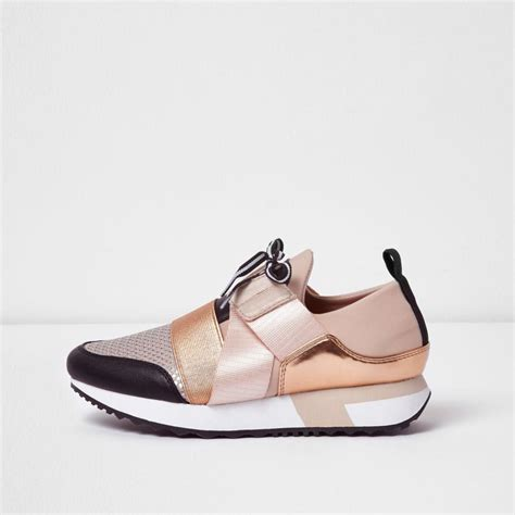 Ck Ck050 Black White Rosegold lyst river island gold metallic lace up runner trainers in yellow