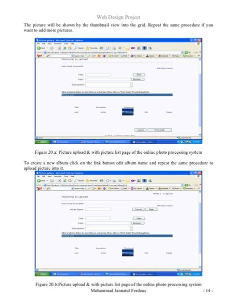 web design project report sle web design project report