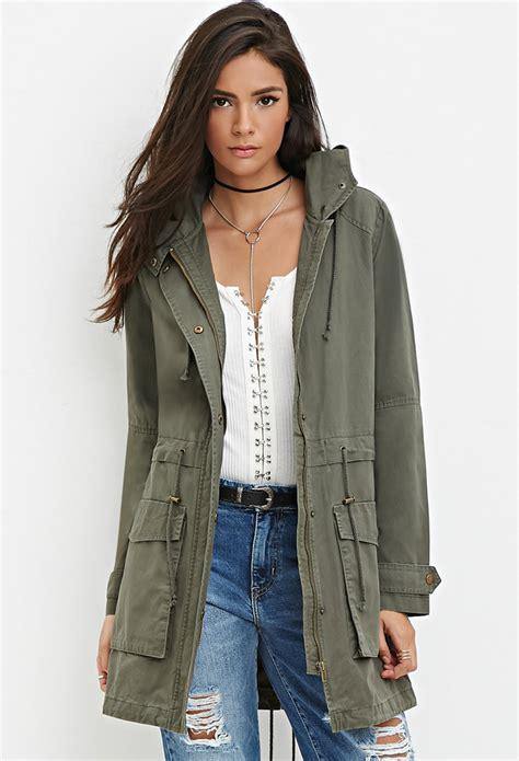 Bench Jackets Women Forever 21 Longline Hooded Utility Jacket In Green Lyst