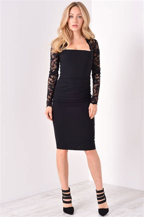 Dress Lace Sabrina goddiva sabrina lace sleeve midi dress in black iclothing