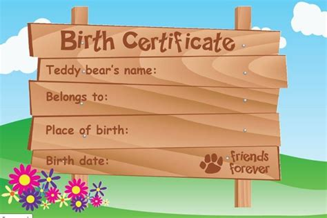 teddy birth certificate template all teddy bears come with a birth certificate to fill out