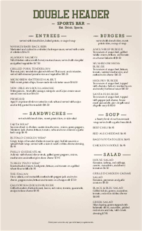 sports bar menu sports bar menus