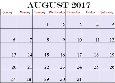 August 2017 Calendar Pdf Calendar Template Letter Format Printable Holidays Usa Uk Pdf Ms Calendar 2017 Template Pdf