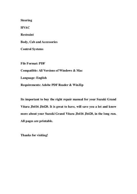 download car manuals pdf free 2012 suzuki grand vitara parking system suzuki grand vitara jb416 jb420 service repair workshop manual downlo