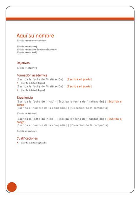 Plantilla De Curriculum Cronologico Informaci 243 N Sobre Empleo Www Inforempleo Net Modelos Y Plantillas De Curr 237 Culum Vitae