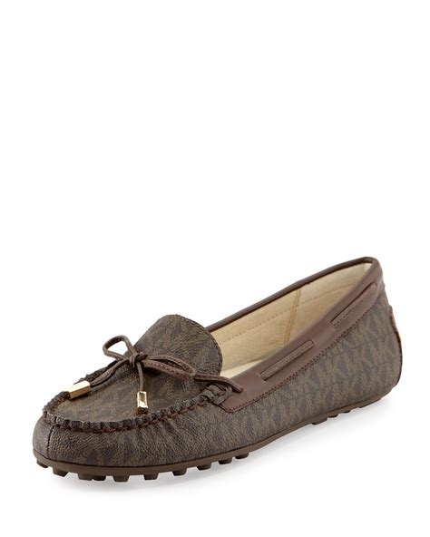 michael kors womens loafers michael michael kors logo print loafer in brown lyst