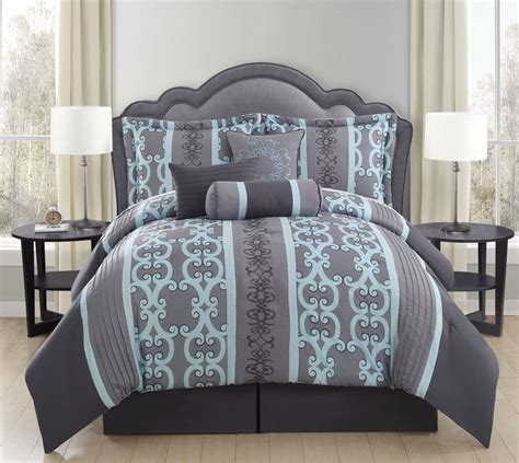 gray and aqua bedding 7 piece queen zareen gray aqua comforter set bedding