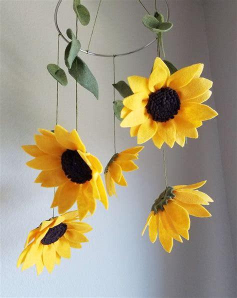Sun Flowers Flanel sunflowers felt baby mobile floral nursery decor baby crib mobile flower baby crib