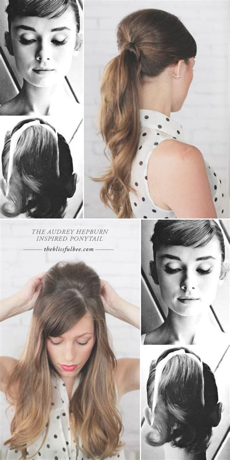 diy 1950 hairstyle the audrey hepburn ponytail the blissful bee my hair