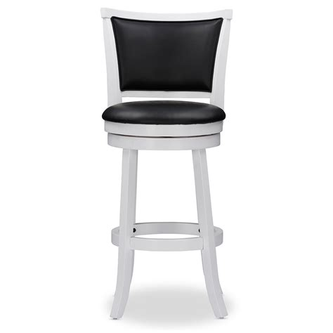 White Wood Swivel Bar Stools by Baxton Studio Kasey White Solid Wood Swivel Bar Stool With