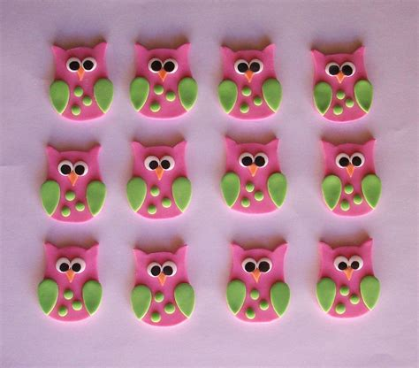 owl toppers fondant owls cake cupcake toppers one dozen