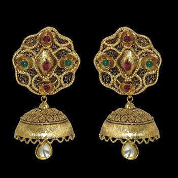 gold jhumka pattern buy temple traditional real gold pattern jhumka online