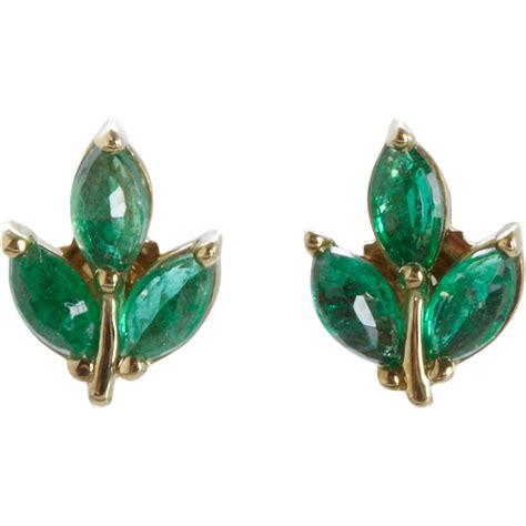 Leaf Stud Earrings lyst finn leaf stud earrings in green