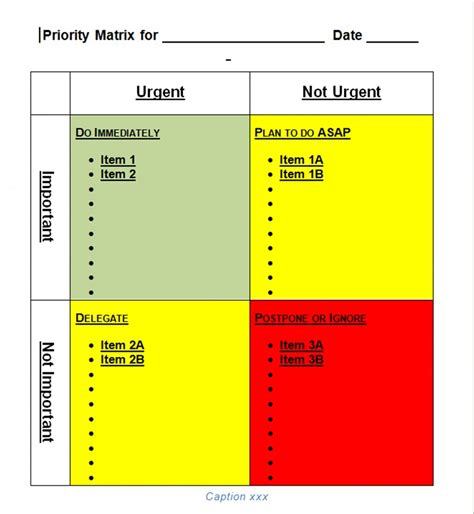 Priority Matrix Template priority matrix template for word