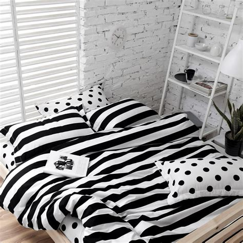 soft cotton polka dot and stripe bedding sets white black