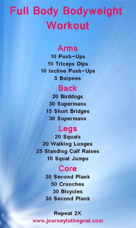 bodyweight workout i would add a wall sit