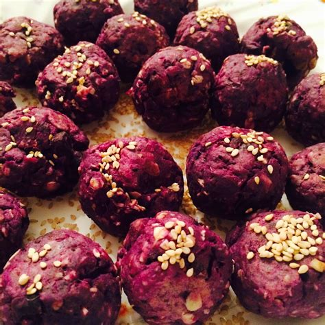 how to cook purple yam in the oven stay fit and travel oven baked purple sweet potato balls with roasted sesame