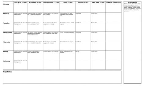 Meal Plan Spreadsheet by Monday March 1 2010 Invictus Redefining Fitness