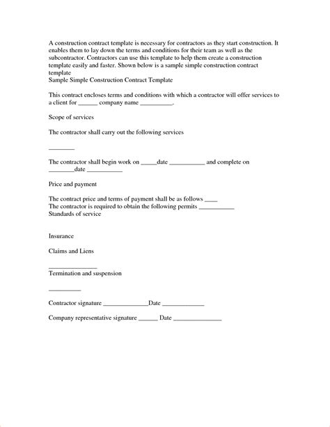 simple contractor agreement template 4 simple contract templatereport template document