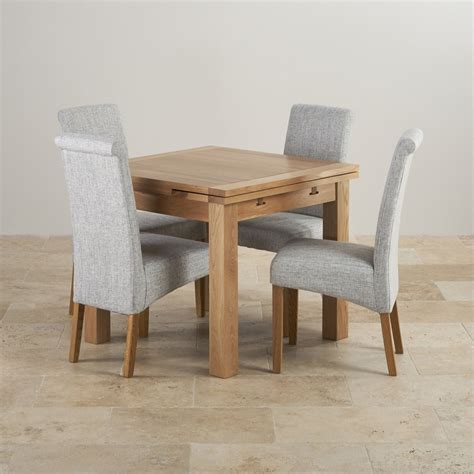 Dorset Oak 3ft Dining Table With 4 Grey Fabric Chairs Oak Dining Table And Chairs