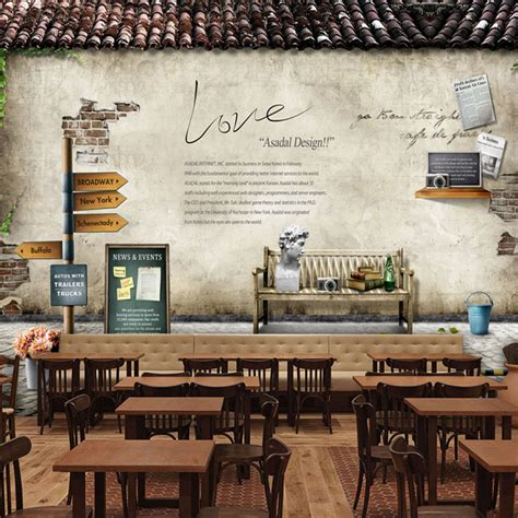 coffee shop wallpaper murals european style village large murals retro nostalgia
