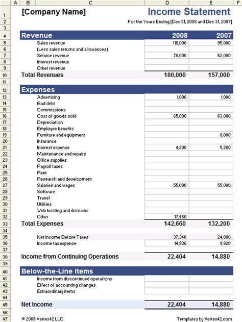 company financial statement template income statement template for excel