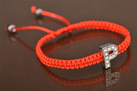 stylish pics of letter p madeheart gt braided red thread bracelet with letter p