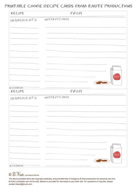 online printable recipes bnute productions free printable milk and cookies recipe card