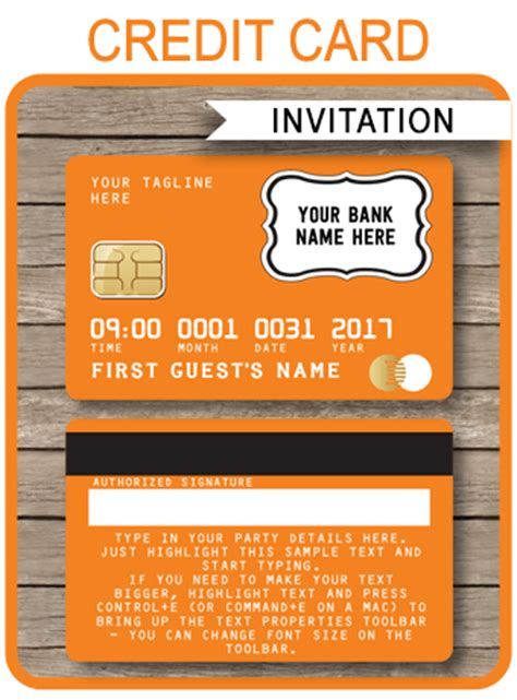 Credit Card Birthday Invitation Template Orange Credit Card Invitations Mall Scavenger Hunt Invitations