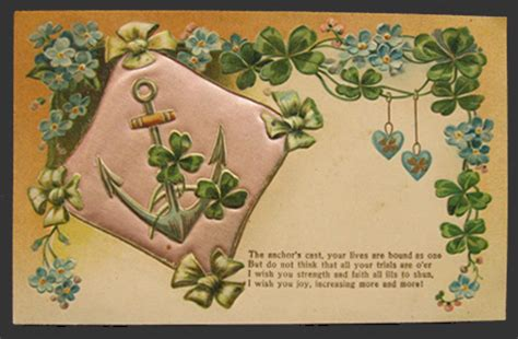 Wedding Wishes Postcards by 4 Leaf Clover Anchor Wedding Wishes Vintage Quilted