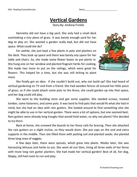 Fourth Grade Reading Worksheets by Reading Comprehension Worksheet Vertical Gardens