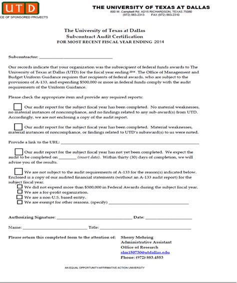 Contract Closeout Letter Guidelines Opm Subrecipient Monitoring Ut Dallas Research Wiki
