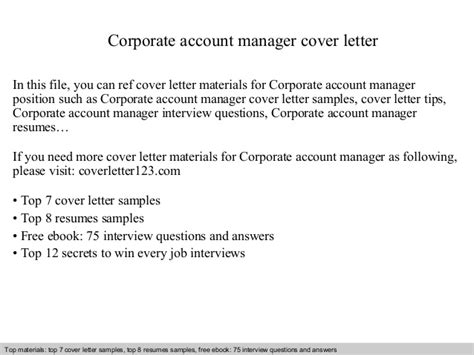 Corporate Administrator Cover Letter by Corporate Account Manager Cover Letter