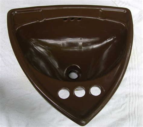 Triangular Bathroom Sinks by Vintage Bathroom Sink Triangular Porcelain Drop In Brown