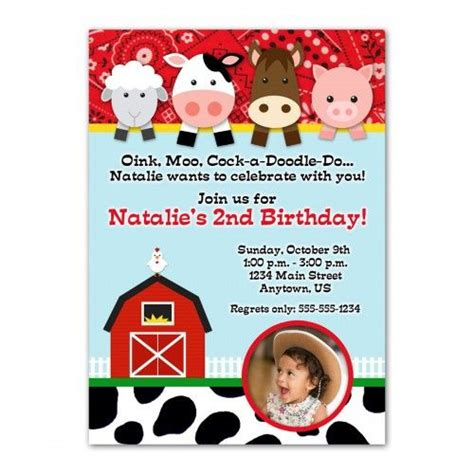 Farm Animals Custom Photo Birthday Invitation Design You Print Kade S 1st Birthday Farm Invitation Template