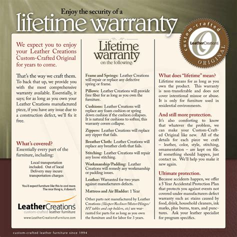 leather furniture warranty warranty leather creations furniture custom leather