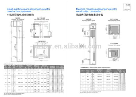 lifting after ac section passenger elevator large size dimension view cheap home