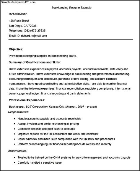bookkeeping resume template sle bookkeeping resume template sle templates