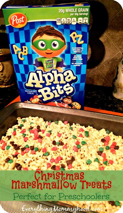 christmas snacks for preschool recipe marshmallow treats for preschoolers featuring alpha bits sponsored
