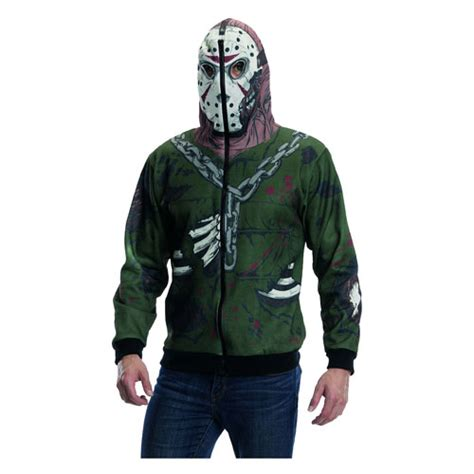 Hoodie Zipper Friday friday the 13th jason voorhees zip up hooded costume rubies horror friday the 13th