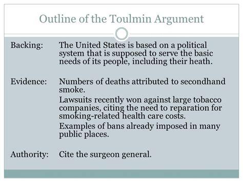 Toulmin Outline Argument by Structuring Arguments Ppt
