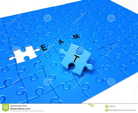 puzzle pieces with text and blue piece stock image image