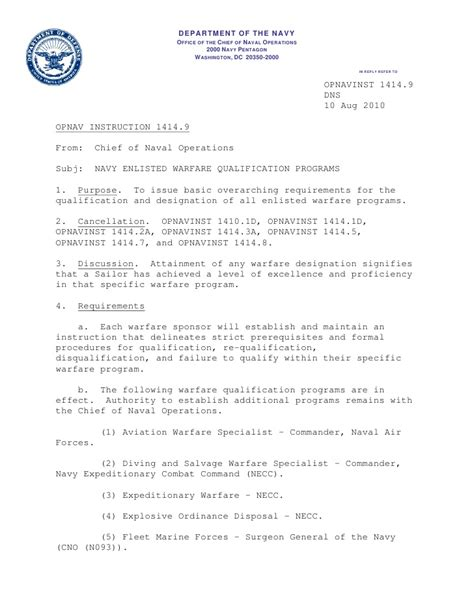 Award Letter Gi Bill 1414 9 Navy Enlisted Warfare Quali
