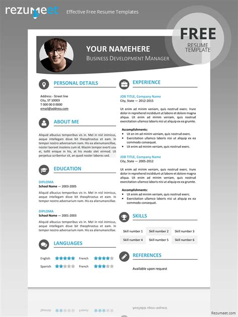 contemporary resume template images free hongdae modern resume template