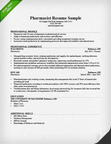pharmacist resume template sle of pharmacy technician resume sle resumes