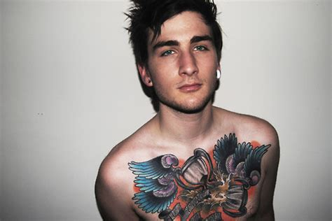 boys with gauges and tattoos boy chest piece cute gauges green eyes guy image