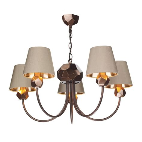Decorative Pendant Lights Decorative 5 Light Cut Shard Copper Ceiling Pendant With Silk Shades