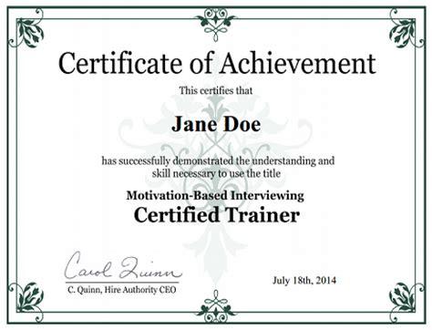 Quot Certified Mbi Trainer Quot Certificate Trainer Certificate Template