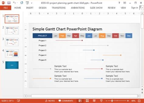 project management gantt chart powerpoint