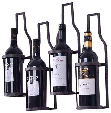 Wine Bottle Shaped Wine Rack by 4 Bottle Shaped Metal Wall Wine Rack Holds 4 Wine Bottles